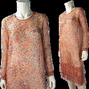 1930's Vintage Gossamer Printed Silk Chiffon Cocktail Dress