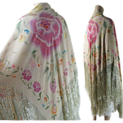 Vintage 1920's Art Deco Period Reversible Printed Silk Shawl