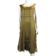1920's Sleeveless Silk & Silk Chiffon Dress With Velvet Appliqués