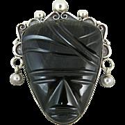 Vintage Los Ballesteros Mexican Sterling Silver & Obsidian Mask Brooch / Pin