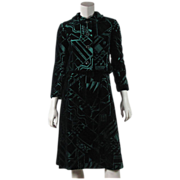 1970's Malcolm Starr Voided Velvet Cocktail Dress With Jacket