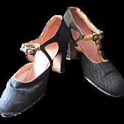 Strappy 1920's Black Moiré Silk Spanish Heel Shoes