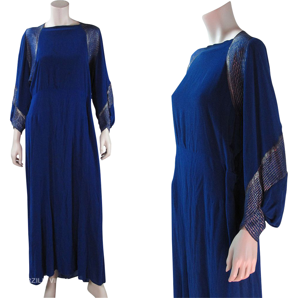 1930's Royal Blue Velvet Silver Lamé / Lame Dolman Sleeve ...