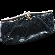 Vintage Judith Leiber Lizard Handbag With Teddy Bear Clasp And Hidden Strap