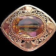 Vintage 18K Gold Arts & Crafts Brooch With 11.5 Carat Citrine