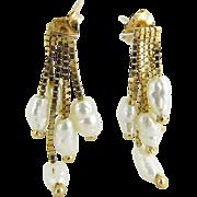 Vintage 14K Gold Five Strand Freshwater Pearl Fringe Earrings