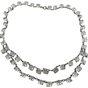 Glittering Vintage Art Deco Sterling Silver Festoon Necklace With Square Crystal Glass Stones
