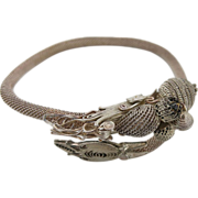 Vintage Chinese 9-Inch Silver Filigree And Mesh Dragon Wrap Bracelet