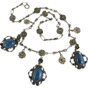 Vintage 1920's Italian Renaissance Style Silver And Sodalite Fringe Necklace