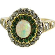 Antique Edwardian 14K Gold Diamond, Demantoid Garnet And Opal Ring