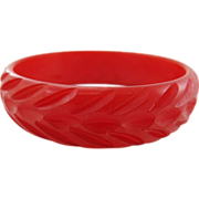 Vintage 1930's Carved Lipstick Red Bakelite Bangle Bracelet