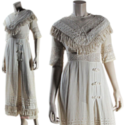 SOLD Antique Edwardian Broderie Anglaise Dress With Tatting & Fringe