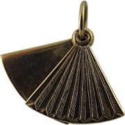 SOLD Vintage Mechanical 14K Yellow Gold Fan Charm