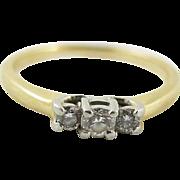 Vintage 14K Gold And Platinum Three Diamond Engagement Ring Magicglo