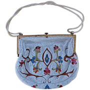 1930's Vintage French Beauvais Embroidered & Microbeaded Purse / Handbag