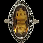 Vintage 14K Gold Cognac Citrine Ring