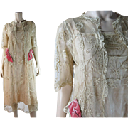 Pretty 1920's Vintage Tambour Lace Dress With Pink Silk Bows And Original Underdress