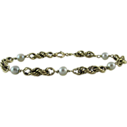 Vintage 1960's 14K Gold Rope Chain Bracelet With 5.5-mm Pearls