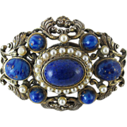 Vintage DeNicola Simulated Lapis And Pearl Brooch / Pin