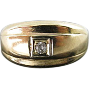 Vintage Retro 14K Gold, Platinum And Diamond Ring