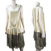 Vintage Art Deco Era Silk Charmeuse And Metallic Lace Art Deco Dress With Jacket