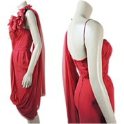 SOLD Wonderful 1950's Vintage Frank Starr Draped Red Silk Chiffon Cocktail Or Evening Dress