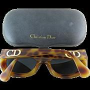 1980's Vintage Christian Dior #2974 Simulated Tortoise Sunglasses With Original Case Rare Mode