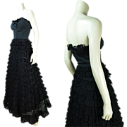 Vintage 1940's Strapless Sweetheart Neckline Evening Gown