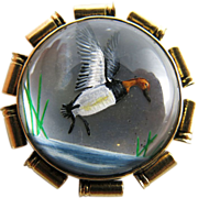 Vintage 14K Gold Essex Crystal Duck Pin In Shotgun Shell Frame