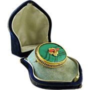 Antique Victorian 14K Gold Malachite And Coral Brooch In Original Domed Box