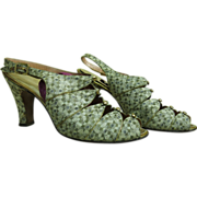 Vintage D'Orsay Peep-Toe Lame / Lamé & Silk Slingback Shoes From Saks