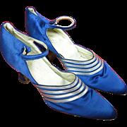 SOLD 1920's Vintage French Art Deco Blue Silk Ankle Strap Shoes Grande Cordonniere Du Chat Noi