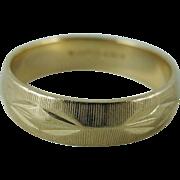 Vintage Retro Carved 14K Gold Wedding Band / Ring By Lohengrin Size 11.5