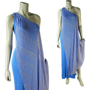 Fabulous 1960's Vintage Elizabeth Courtney One Shoulder Silk Lame / Lamé Dress