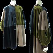 Vintage Jean Paul Gaultier Color Block Reversible Velvet & Gabardine Coat