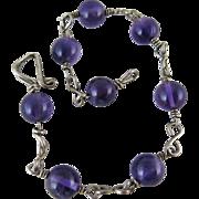 Vintage Modernist Sterling Silver And Amethyst Bead Bracelet