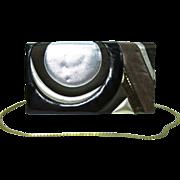 Rare 1974 Judith Leiber Art Deco Karung, Leather, Satin & Snakeskin Envelope Style Handbag / Clutch
