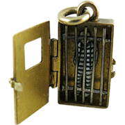 SOLD Rare Antique 14K Gold Yale University Mechanical Jail Charm With Enameled Prisoner - Date
