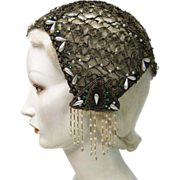 Exceptional Vintage 1920's Beaded Gold Metallic Lace Evening Cap With Fringe, Green Rhinestone
