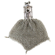 Antique 835 Silver Mesh Gate-Top Purse With Dog Finial