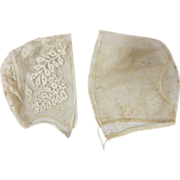 Two Antique Circa 1788 Georgian Embroidered Baby Bonnets / Caps With Provenance