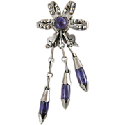 1930's Vintage Mexican Silver And Amethyst Pin / Brooch