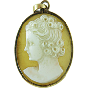 Antique 14K Gold Mounted Shell Cameo Pendant