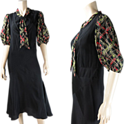 SOLD Smart And Flirty Vintage 1930's Bias-Cut Printed Rayon Day Dress