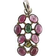 Vintage Sterling Silver Pendant With 12 carats Of Pink And Green Tourmaline