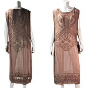 Lavish Vintage 1920's Beaded Cinnamon Silk Chiffon Tabard Flapper Dress