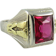 Vintage Men's Art Deco 14K White And Yellow Gold Ruby Ring Size 10.5 ...