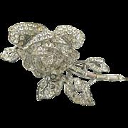 "Opulent Vintage Rhinestone Rose Trembler or ""En Tremblant"" Brooch / Pin Circa 1930"