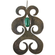 Dramatic 3 3/4-Inch Vintage Sterling Silver And Malachite Mid 20Th Century Studio Pendant