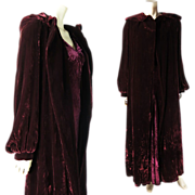 SALE PENDING Vintage 1930's Cranberry Silk Velvet Opera / Evening Coat With Boston Label ON LA